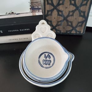 Vintage Farmhouse Blue and White Measuring Cup Set